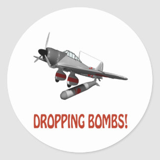 Dropping Bombs Round Sticker