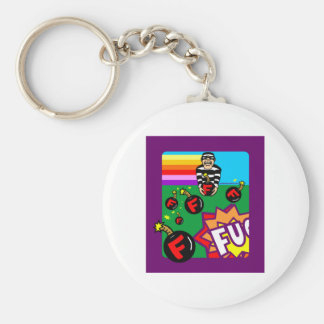 DROPPING F BOMBS BASIC ROUND BUTTON KEYCHAIN