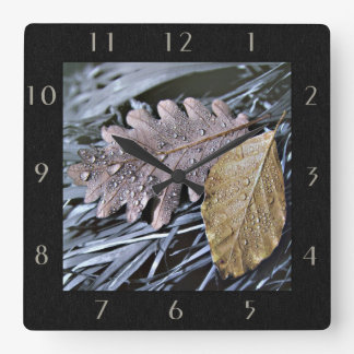 Drops on Autumn Leaves - Wall Clock