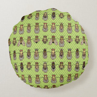 Drosophila Fruit Fly Genetics - mutants - Lime Round Pillow