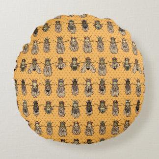 Drosophila Fruit Fly Genetics - mutants -Tangerine Round Pillow