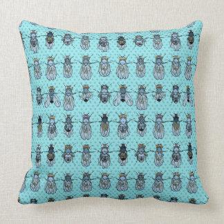 Drosophila Fruit Fly Genetics - mutants -Turquoise Throw Pillow
