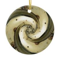 droste effect tractor wheel ceramic ornament