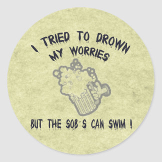 Drowned Worries Classic Round Sticker