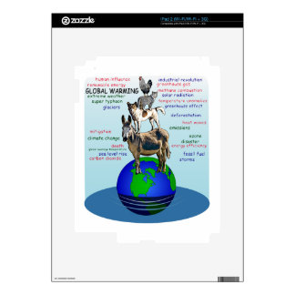Drowning earth, sea level rise,global warming decal for iPad 2