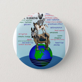 Drowning earth, sea level rise,global warming pinback button
