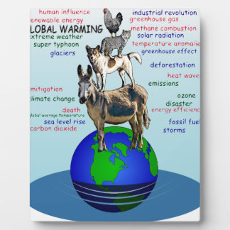 Drowning earth, sea level rise,global warming plaque