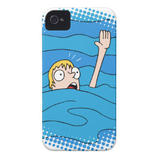 Drowning Man Cartoon iPhone 4 Case