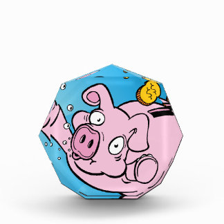 Drowning Piggy Bank Underwater Acrylic Award