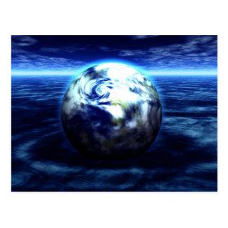 drowning planet postcard