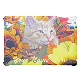 Drowsy Baby Kitten, Kitty Cat in Colorful Flowers Cover For The iPad Mini