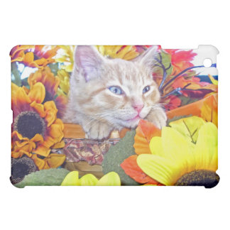 Drowsy Baby Kitten, Kitty Cat in Colorful Flowers iPad Mini Cover