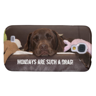 Drowsy Chocolate Lab Close Up Photograph Samsung S4 Case