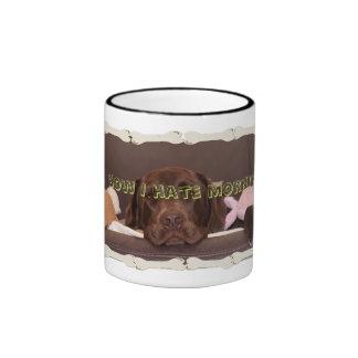 Drowsy Chocolate Lab With Toys Ringer Coffee Mug