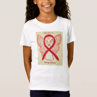 Drug Abuse Red Awareness Ribbon Custom Shirt