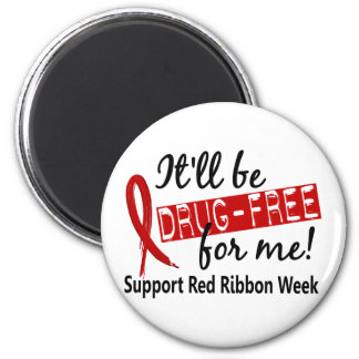 Drug-Free For Me Red Ribbon Week 2 Inch Round Magnet