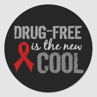 Drug-Free Is The New Cool Classic Round Sticker