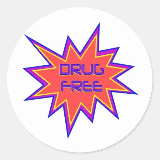 Drug Free Round Stickers