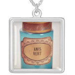 Drug Jar, with label for Anis Vert, c.1860 Square Pendant Necklace