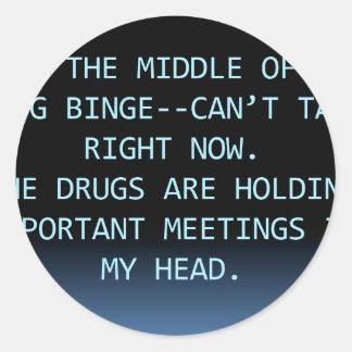 DRUG MEETING CLASSIC ROUND STICKER