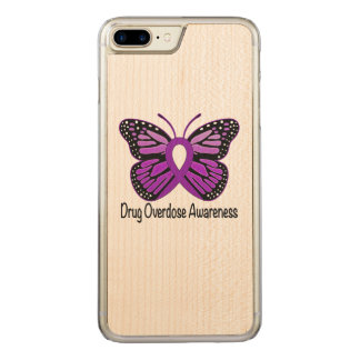 Drug Overdose with Butterfly Awareness Ribbon Carved iPhone 8 Plus/7 Plus Case