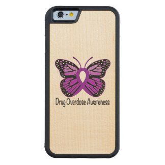 Drug Overdose with Butterfly Awareness Ribbon Carved Maple iPhone 6 Bumper Case