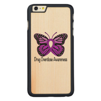Drug Overdose with Butterfly Awareness Ribbon Carved Maple iPhone 6 Plus Case