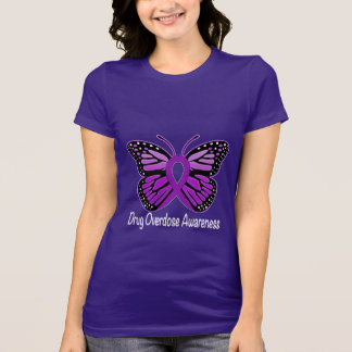 Drug Overdose with Butterfly Awareness Ribbon T-Shirt