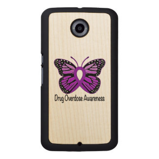 Drug Overdose with Butterfly Awareness Ribbon Wood Phone Case
