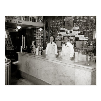 Drug Store Soda Fountain, 1921 Postcard