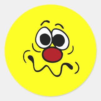 Drugged Smiley Face Grumpey Classic Round Sticker