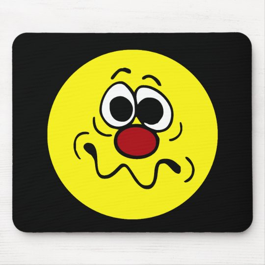 Drugged Smiley Face Grumpey Mouse Pad