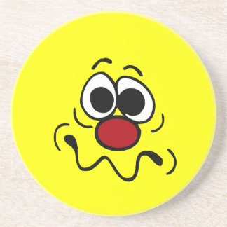 Drugged Smiley Face Grumpey Sandstone Coaster