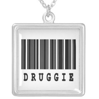 druggie  funny barcode design silver plated necklace