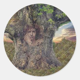 Druid In Trees Classic Round Sticker