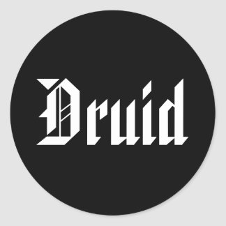 Druid. Nice Gothic Font. Black and White Classic Round Sticker