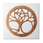 Druid Tree with Hidden Celtic Pentacle Ceramic Tile