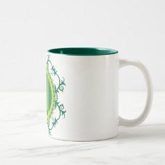 Druid Wreath and Staves Two-Tone Coffee Mug
