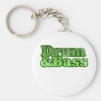 Drum and Bass Green Basic Round Button Keychain