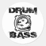 Drum and Bass Subwoofer Round Sticker
