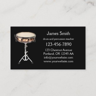 Drum and Percussion Teacher Business Card