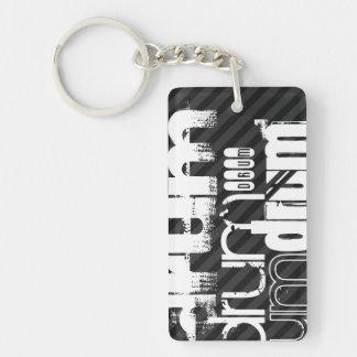 Drum; Black & Dark Gray Stripes Double-Sided Rectangular Acrylic Keychain