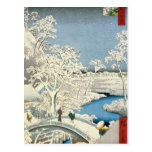 Drum bridge and Setting Sun Hill at Meguro Postcard