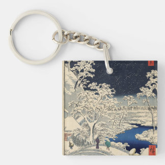 Drum Bridge at Meguro and Sunset Hill. Double-Sided Square Acrylic Keychain