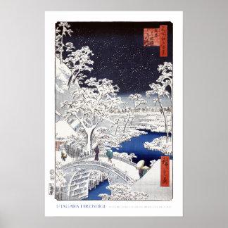 Drum Bridge at Meguro Poster