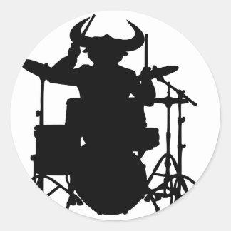 drum bull.png classic round sticker