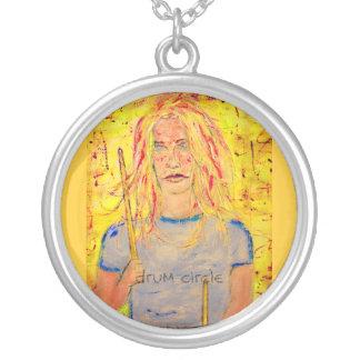 drum circle art round pendant necklace