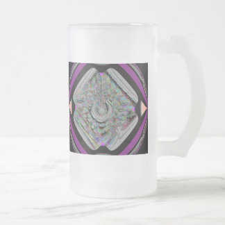 Drum Circle Frosted Glass Mug