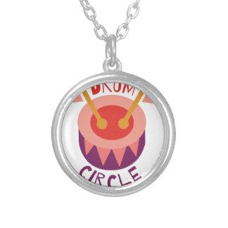 Drum Circle Round Pendant Necklace