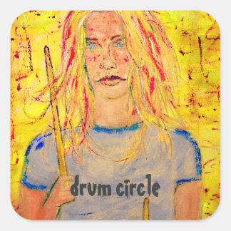 drum circle square sticker